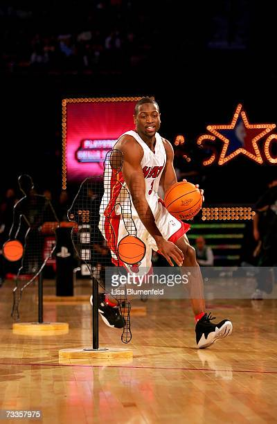 Dwyane Wade of the Miami Heat participates in the PlayStation Skills Challenge during NBA AllStar Weekend on February 17 2007 at Thomas Mack Center...