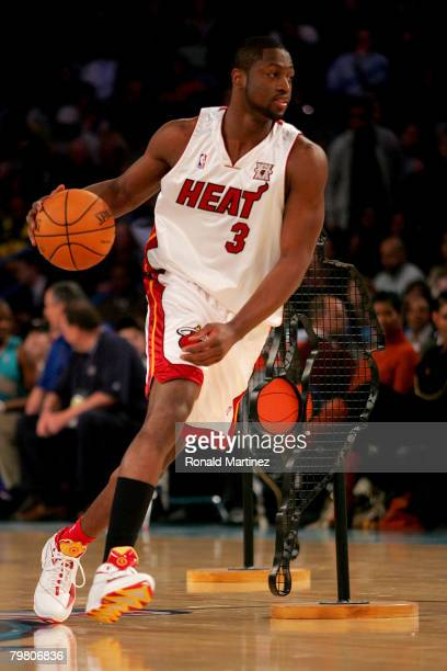 Dwyane Wade of the Miami Heat participates in the Playstation Skills Challenge part of 2008 NBA AllStar Weekend at the New Orleans Arena on February...