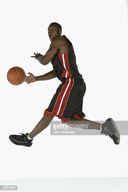 Dwyane Wade of the Miami Heat passes during the 2003 NBA Rookie Shoot at the MSG Training Facility on August 7, 2003 in Tarrytown, New York. NOTE TO...