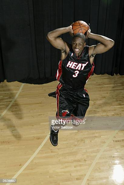 Dwyane Wade of the Miami Heat poses during the 2003 NBA Rookie shoot on August 7, 2003 at Madison Square Garden Training Facility in Tarrytown, New...