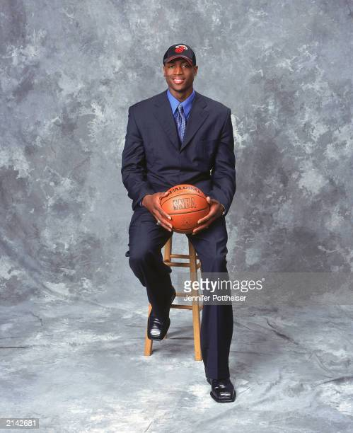 Dwyane Wade of the Miami Heat poses during the 2003/2004 NBA Draft Portrait at the Paramount Theatre at Madison Square Garden on June 26 2003 in New...