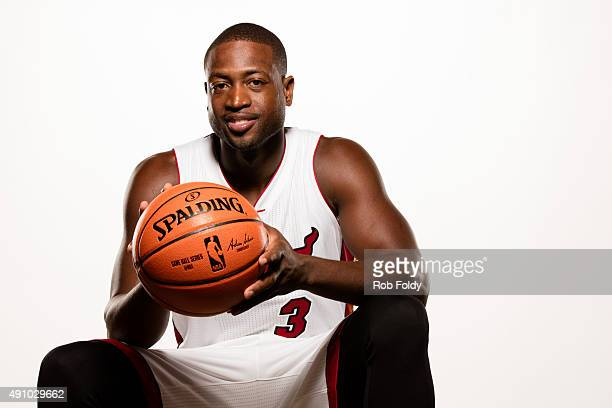 ec6604860ac Dwyane Wade of the Miami Heat poses for a portrait during Miami Heat media  day at
