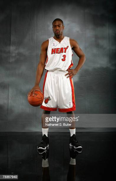 Dwyane Wade of the Miami Heat poses for a portrait on AllStar Saturday Night during the NBA AllStar Weekend on February 17 2007 at the Thomas Mack...