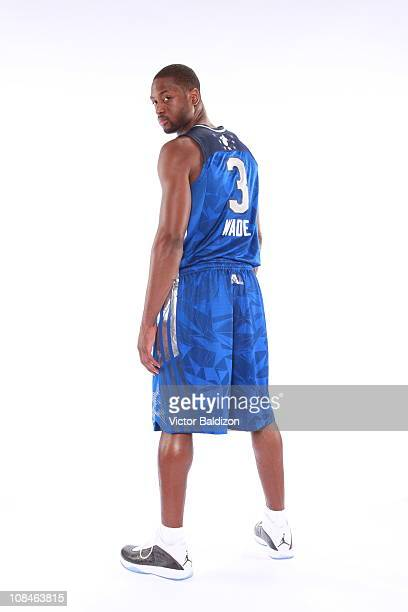Dwyane Wade of the Miami Heat poses for a portrait wearing his AllStar uniform on January 25 2011 at the American Airlines Arena in Miami Florida...