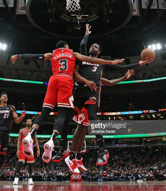 Dwyane Wade of the Miami Heat puts up a shot against Shaquille Harrison of the Chicago Bulls at United Center on January 19 2019 in Chicago Illinois...