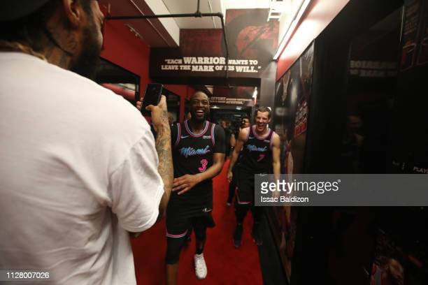 Dwyane Wade of the Miami Heat reacts after hitting the gamewinning threepoint shot against the Golden State Warriors on February 27 2019 at American...
