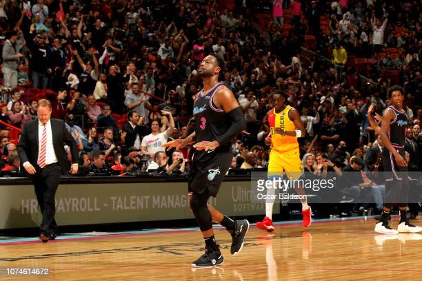 Dwyane Wade of the Miami Heat reacts against the Milwaukee Bucks on December 22 2018 at American Airlines Arena in Miami Florida NOTE TO USER User...