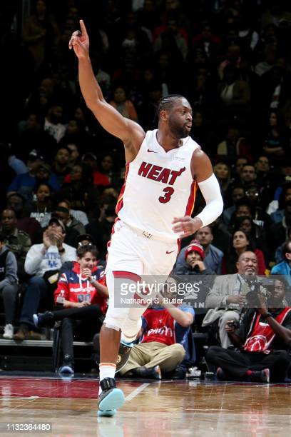 Dwyane Wade of the Miami Heat reacts against the Washington Wizards on March 23 2019 at Capital One Arena in Washington DC NOTE TO USER User...