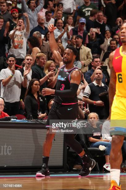 Dwyane Wade of the Miami Heat reacts during a game against the Milwaukee Bucks on December 22 2018 at American Airlines Arena in Miami Florida NOTE...