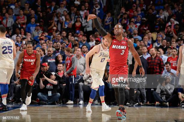Dwyane Wade of the Miami Heat reacts during the game against the Philadelphia 76ers in Game Two of Round One of the 2018 NBA Playoffs on April 16...