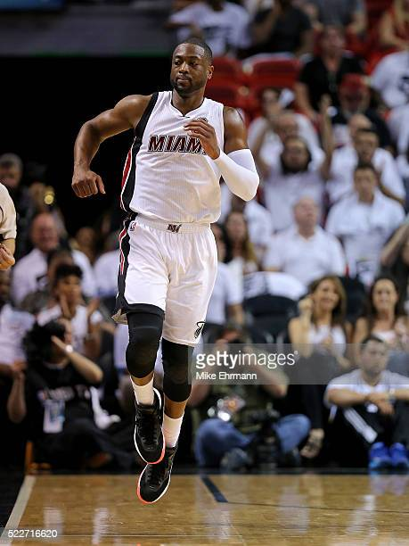 Dwyane Wade of the Miami Heat reacts to a play during game two of the Eastern Conference Quarterfinals of the 2016 NBA Playoffs against the Charlotte...