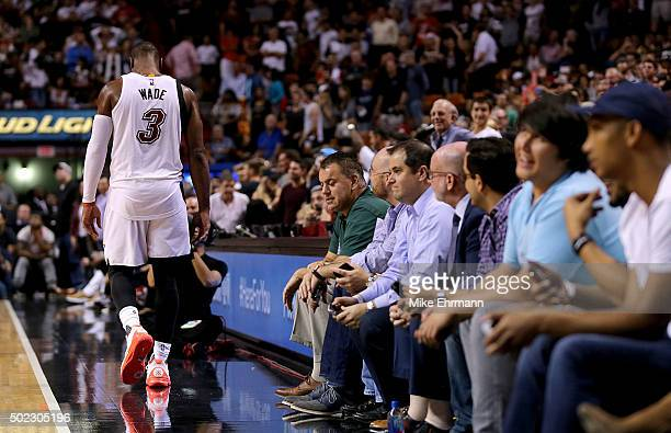 Dwyane Wade of the Miami Heat reacts to missing a shot during a game against the Detroit Pistons at American Airlines Arena on December 22 2015 in...