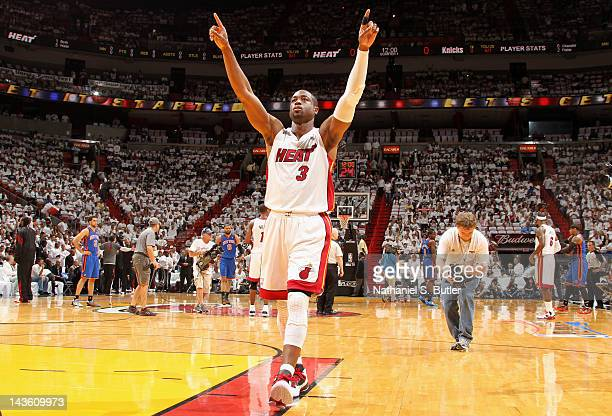 Dwyane Wade of the Miami Heat reacts to the crowd in Game Two of the Eastern Conference Quarterfinals against the New York Knicks during the 2012 NBA...