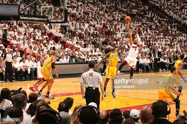 Dwyane Wade of the Miami Heat shoots against the Indiana Pacers in Game Six of the Eastern Conference Finals during the 2014 NBA Playoffs on May 30...