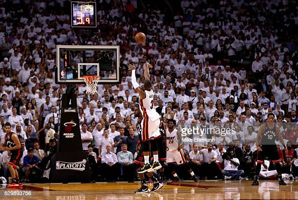 Dwyane Wade of the Miami Heat shoots in overtime during Game 4 of the Eastern Conference Semifinals of the 2016 NBA Playoffs against the Miami Heat...