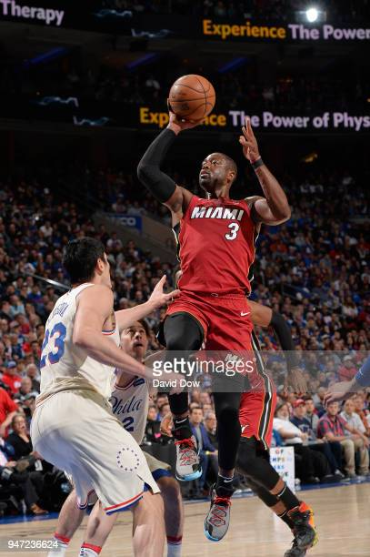 Dwyane Wade of the Miami Heat shoots the ball against the Philadelphia 76ers in Game Two of Round One of the 2018 NBA Playoffs on April 16 2018 at...