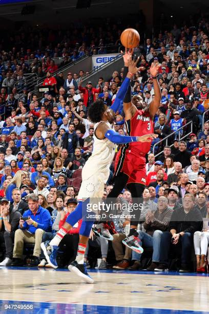 Dwyane Wade of the Miami Heat shoots the ball against the Philadelphia 76ers in Game Two of Round One of the 2018 NBA Playoffs on April 16 2018 in...