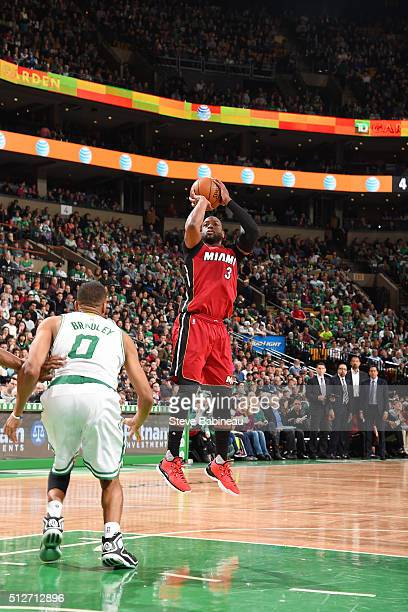 Dwyane Wade of the Miami Heat shoots the ball against the Boston Celtics on February 27 2016 at the TD Garden in Boston Massachusetts NOTE TO USER...