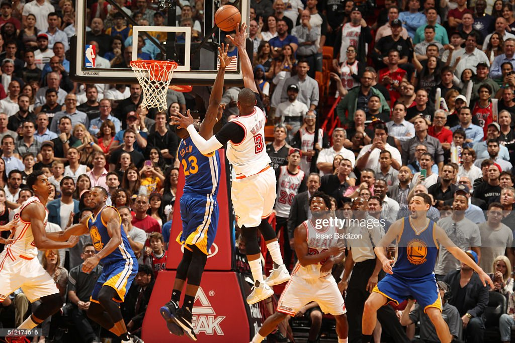 Dwyane Wade #3 of the Miami Heat shoots the ball against the Golden State Warriors on February 24, 2016 at American Airlines Arena in Miami, Florida.