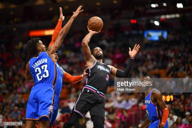 Dwyane Wade of the Miami Heat shoots the ball against the Oklahoma City Thunder during the second half at American Airlines Arena on February 1 2019...