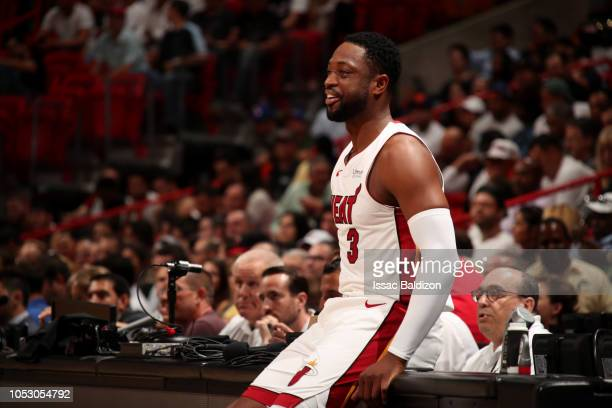Dwyane Wade of the Miami Heat smiles during a game against the New York Knicks on October 24 2018 at American Airlines Arena in Miami Florida NOTE TO...