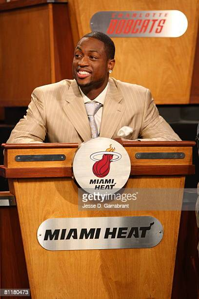 Dwyane Wade of the Miami Heat smiles during the 2008 NBA Draft Lottery at the NBATV Studios May 20 2008 in Secaucus New Jersey NOTE TO USER User...