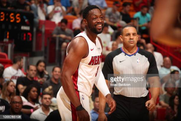 Dwyane Wade of the Miami Heat smiles during the game against the Sacramento Kings on October 29 2018 at American Airlines Arena in Miami Florida NOTE...