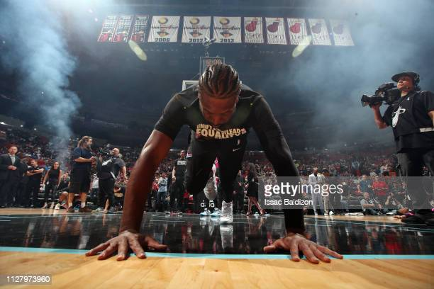 Dwyane Wade of the Miami Heat stretches prior to a game against the Golden State Warriors on February 27 2019 at American Airlines Arena in Miami...