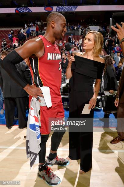 Dwyane Wade of the Miami Heat talks with media after the game against the Philadelphia 76ers in Game Two of Round One of the 2018 NBA Playoffs on...