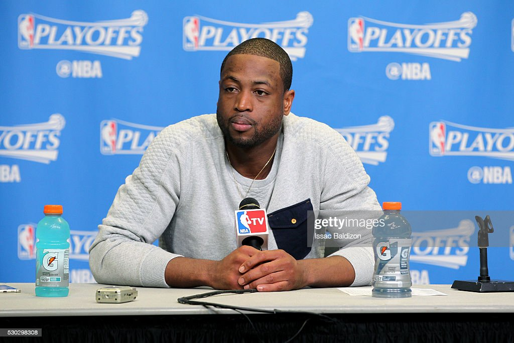 Dwyane Wade #3 of the Miami Heat talks with the press after the game against the Toronto Raptors in Game Four of the Eastern Conference Semifinals during the 2016 NBA Playoffs on May 9, 2016 at AmericanAirlines Arena in Miami, Florida.