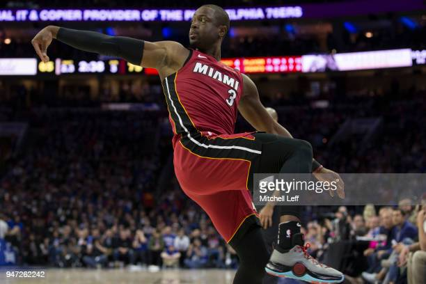 Dwyane Wade of the Miami Heat watches his shot in the third quarter against the Philadelphia 76ers during Game Two of the first round of the 2018 NBA...