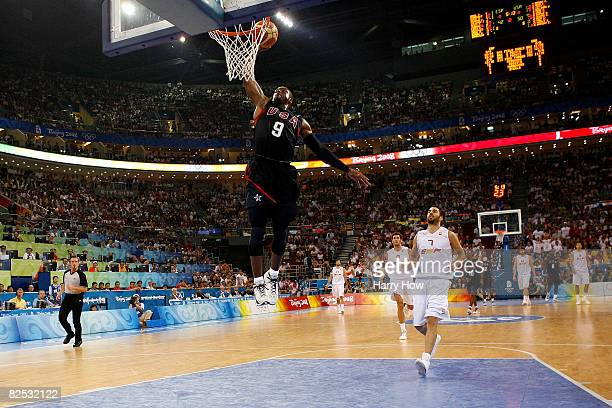 Dwyane Wade of the United States goes to the basket in the gold medal game against Spain during Day 16 of the Beijing 2008 Olympic Games at the...