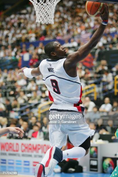 Dwyane Wade of the USA Basketball Mens National Team goes to the basket against Australia during the FIBA World Basketball Championship at the...