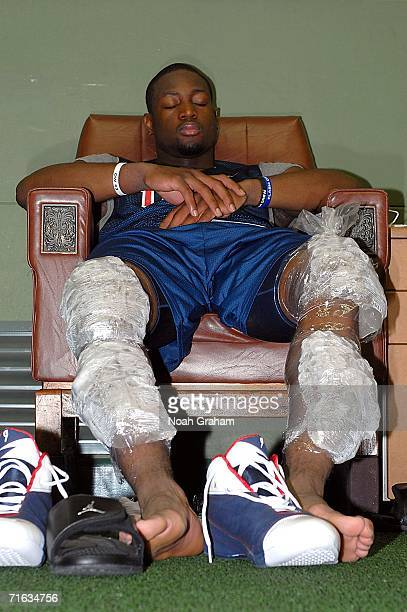 Dwyane Wade of the USA Basketball Senior Men's National Team rests after practice on August 12 2006 in Seoul South Korea NOTE TO USER User expressly...