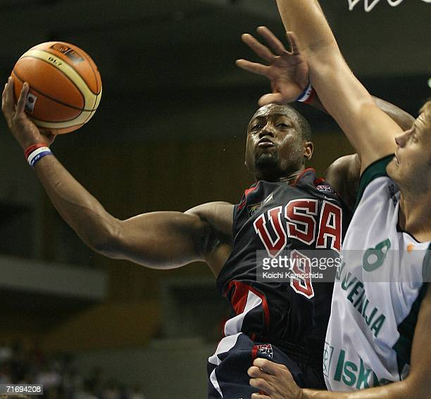 Dwyane Wade of the USA Basketball Team shoots against Slovenia during the preliminary round of FIBA World Championships 2006 on August 22 2006 in...