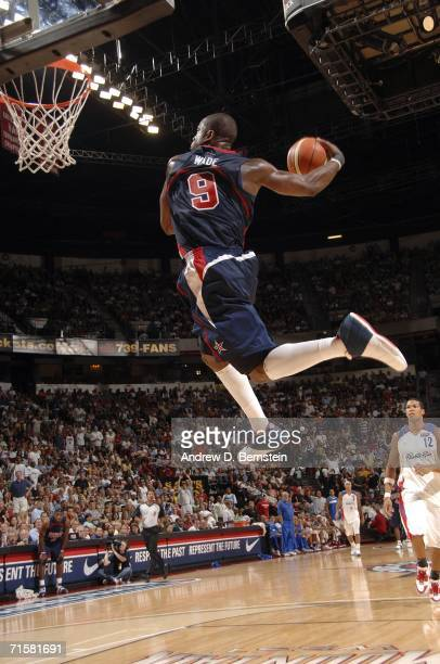 Dwyane Wade of the USA Senior Mens National Team dunks against the Puerto Rico Senior Mens National Team on August 3 2006 at the Thomas and Mack...