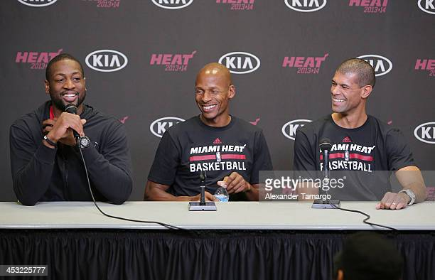 Dwyane Wade Ray Allen and Shane Battier are seen at a press conference at the American Airlines Arena where Hublot hosted a basketball fantasy camp...