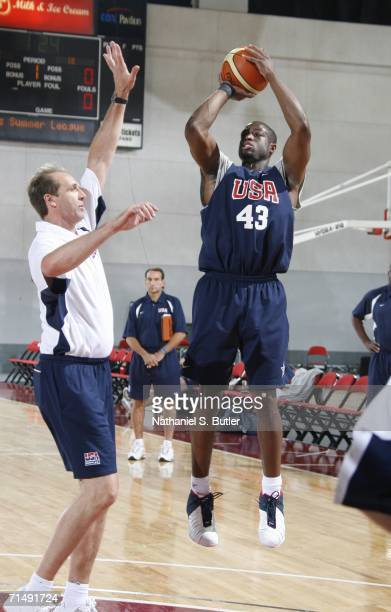 Dwyane Wade shoots during USA Senior Mens National Team practice on July 20 2006 at the Cox Pavilion in Las Vegas Nevada NOTE TO USER User expressly...
