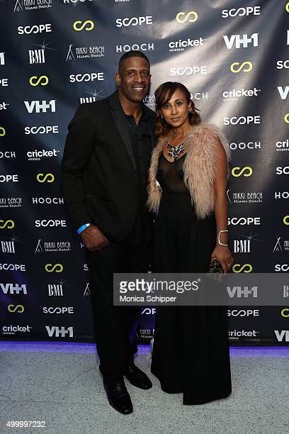 Dwyane Wade Sr and Danielle Koping attend VH1's The Breaks Lounge Scope Official Party on December 4 2015 in Miami Beach Florida