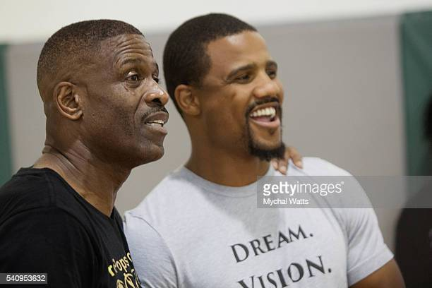Dwyane Wade Sr and Pro Boxer Andre Dirrell attend the Propops Foundation Fathers Day Weekend on June 18 2016 in Miami Florida