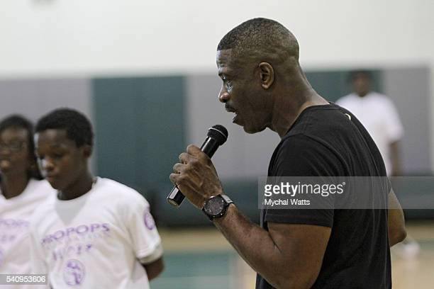 Dwyane Wade Sr attends and works with children at the Propops Foundation Fathers Day Weekend Event on June 18 2016 in Miami Florida