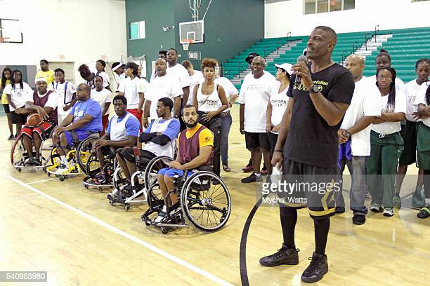Dwyane Wade Sr speaks to Crowd attending the Propops Foundation Fathers Day Weekend on June 18 2016 in Miami Florida