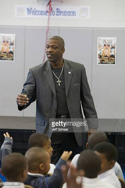 Dwyane Wade Sr visits Chicago public schools as part of the Wade's World Weekend on August 26 2011 in Chicago Illinois