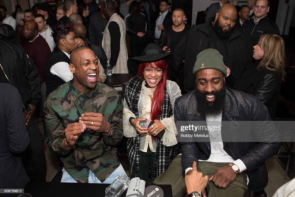 Dwyane Wade, Stylist Calyann Barnett-Watson and James Harden share a laugh during the Dwyane Wade and Stance Stocks Spades Tournament at The One Eighty on February 11, 2016 in Toronto, Canada.