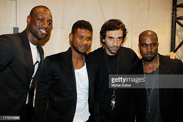 Dwyane Wade Usher Ricardo Tisci and Kayne West attend the Givenchy Menswear Spring/Summer 2012 show as part of Paris Fashion Week at on June 24 2011...