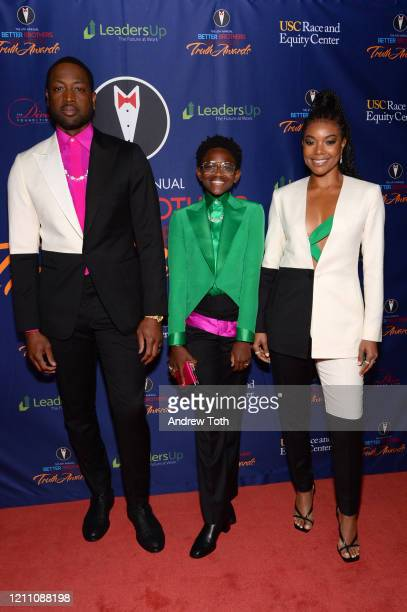 Dwyane Wade, Zaya Wade and Gabrielle Union attend the Better Brothers Los Angeles 6th annual Truth Awards at Taglyan Complex on March 07, 2020 in Los...