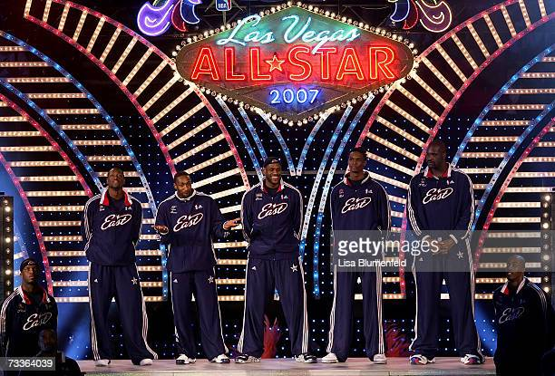 Dwyane Wade,Gilbert Arenas, LeBron James, Chris Bosh and Shaquille O'Neal of the Eastern Conference are introduced to start the 2007 NBA All-Star...