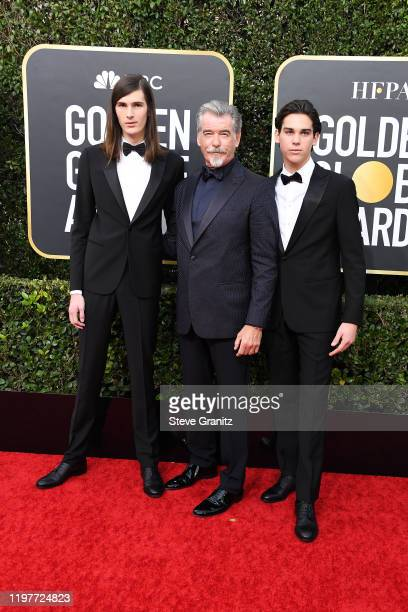 Dyan Bronsan Pierce Bronsan and Paris Bronsan attend the 77th Annual Golden Globe Awards at The Beverly Hilton Hotel on January 05 2020 in Beverly...
