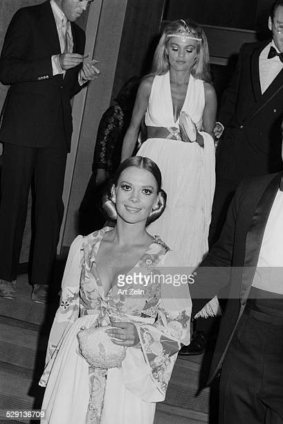 Dyan Cannon and Natalie Wood leaving an event circa 1970 New York