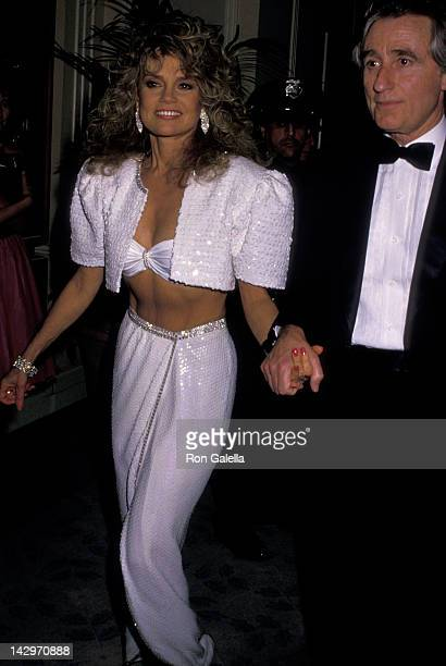 Dyan Cannon and Stanley Fimberg attend 45th Annual Golden Globe Awards on January 23 1988 at the Beverly Hilton Hotel in Beverly Hills California